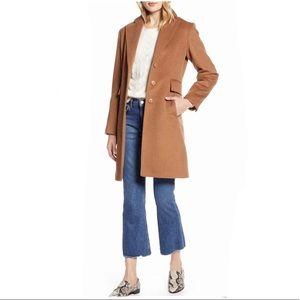 Halogen Women Notch Collar Wool Blend Coat
